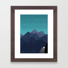 Mountain path at night Framed Art Print