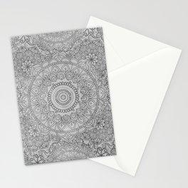 Grey Watercolor Mandala Pattern Stationery Cards