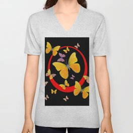 YELLOW BUTTERFLIES & RED RING  ABSTRACT ART Unisex V-Neck