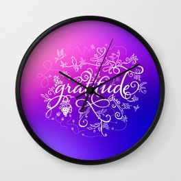 Gratitude Purply Pink Wall Clock