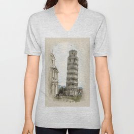 The Leaning Tower of Pisa Unisex V-Neck