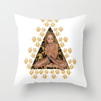 rose gold Throw Pillows featuring Rose Gold by Shannice Wollcock
