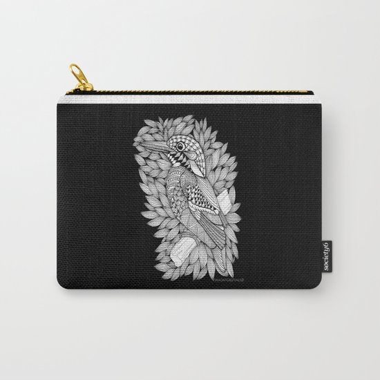 Zentangle Halcyon Black and White Illustration Carry-All Pouch