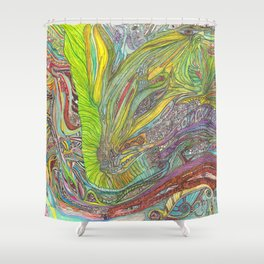 Om Dragon original (cold blue version) Shower Curtain