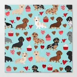 Dachsund dachsie doxie valentines day valentine hearts love cupcakes cute dog gifts Canvas Print