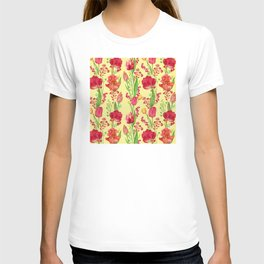 Red Tulips And Irises Floral Pattern on Yellow T-shirt