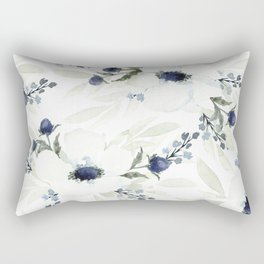 Watercolor Anemone and Thistle Rectangular Pillow