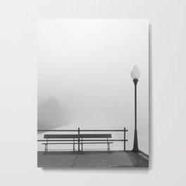 Pier In Fog, Early Spring Metal Print
