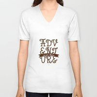adventure is out there V-neck T-shirts featuring Adventure is out there by Earthlightened