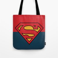 dc comics Tote Bags featuring Super Man Logo Minimalist Art Print DC Comics by The Retro Inc