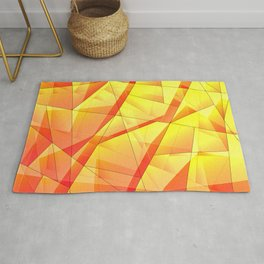 Bright contrasting fragments of crystals on irregularly shaped yellow and orange triangles. Rug