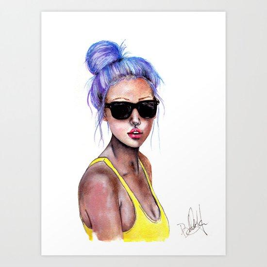 Little Blue Bun Art Print