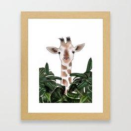 Giraffe above the trees Framed Art Print