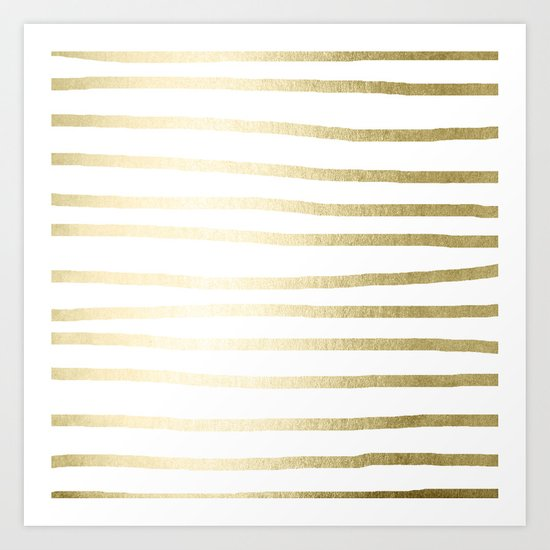 Simply Drawn Stripes Gilded Palace Gold Art Print