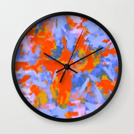 splash painting texture abstract background in red blue orange Wall Clock