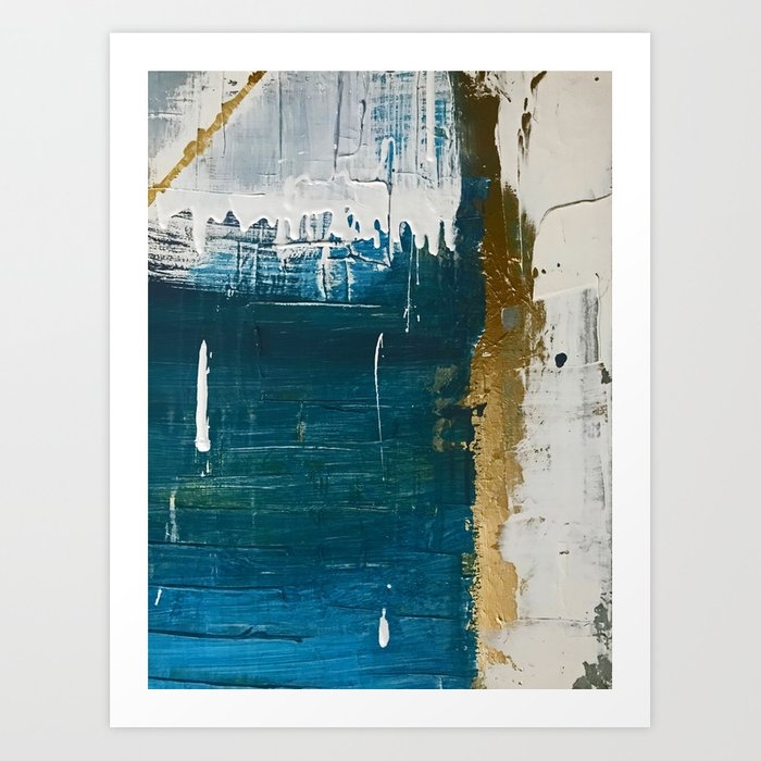Rain [3]: a minimal, abstract mixed-media piece in blues, white, and gold by Alyssa Hamilton Art Art Print