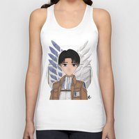 levi Tank Tops featuring Levi Rivaille by Larkee Beatz