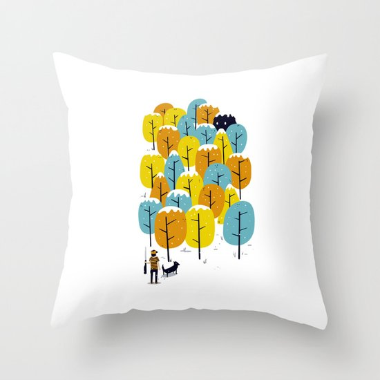 Searching for the monster Throw Pillow