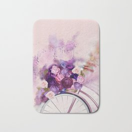 Vintag Bicycle and Flowers Bath Mat