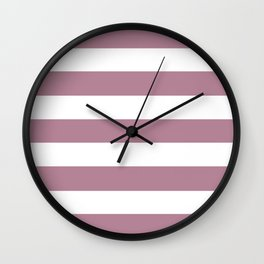 English lavender - solid color - white stripes pattern Wall Clock
