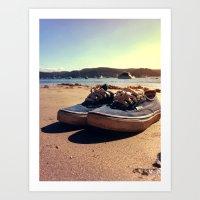 vans Art Prints featuring Beached Vans by Pretty In Palms Designs