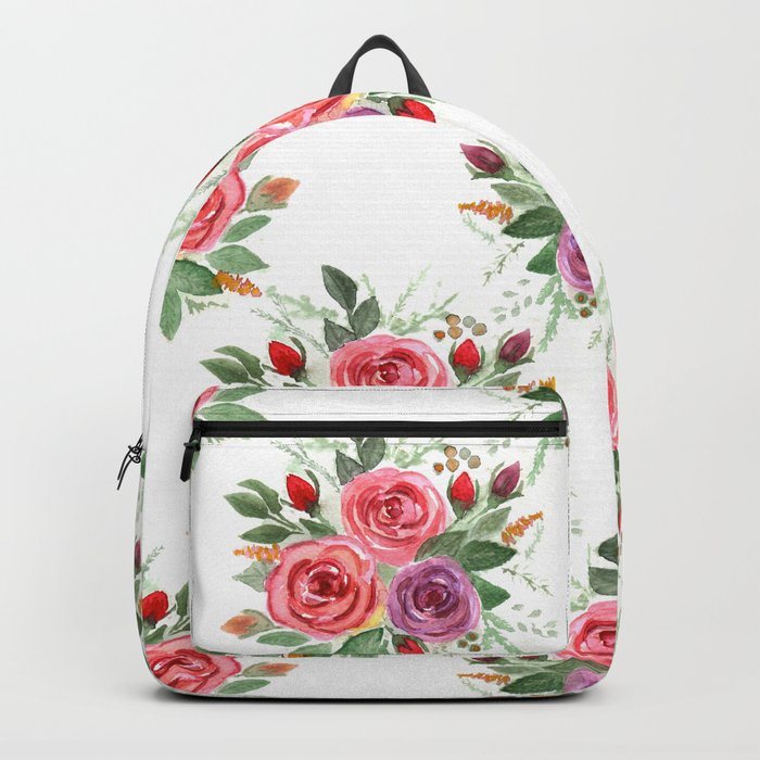 Watercolor . A bouquet of roses. 2 Backpack