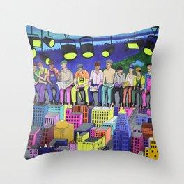 LUNCH ATOP A SKYSCRAPER Throw Pillow