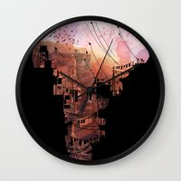 blues Wall Clocks featuring Secret Streets by David Fleck