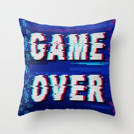 Game Over Glitch Text Distorted Throw Pillow
