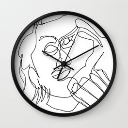 Continuous line drawing face #3 Wall Clock