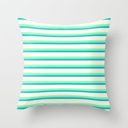 Seafoam Green & Cream Stripes Throw Pillow