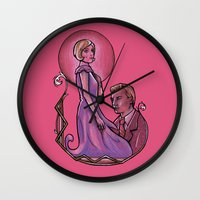 the great gatsby Wall Clocks featuring The Great Gatsby by Grace Mutton