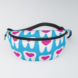 Teeth pattern with hearts in the center on blue background Fanny Pack