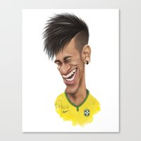 neymar Canvas Prints featuring Neymar - Brazil by Sant Toscanni