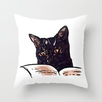 ripley Throw Pillows featuring Ripley Reads by Helenasia