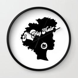 I Love My Hair Black Afro Woman Wall Clock