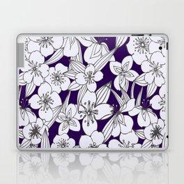 Hand painted modern black white indigo floral pattern Laptop & iPad Skin