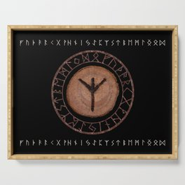 Algiz Elder Futhark Rune divinity, higher self, the state of listening, protective teaching force Serving Tray