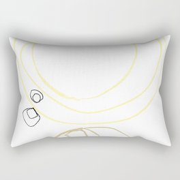 Yellow Abstract Shapes Minimalist Line Drawing Rectangular Pillow