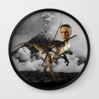 christopher walken Wall Clocks featuring ChristopheRAPTOR Walken - Christopher Walken Velociraptor by Kalynn Burke