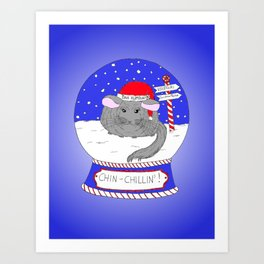 Chin-Chillin' Christmas Art Print