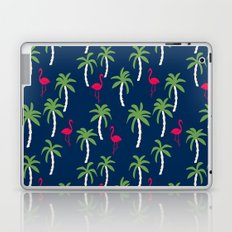 Tropical flamingo and palm trees pattern by andrea lauren cute illustration summer patterns navy Laptop & iPad Skin