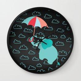 Elephant with umbrella on Black Chalkboard Wall Clock