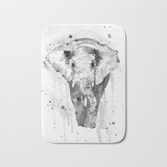 Elephant, watercolor black and white Bath Mat