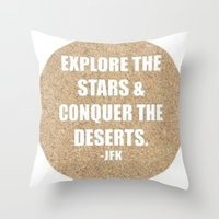 jfk Throw Pillows featuring JFK by American Sins