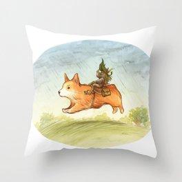 Faery mount Corgi Throw Pillow