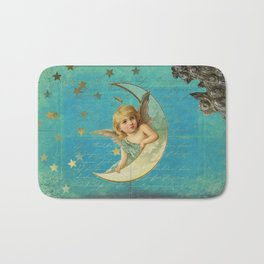 Vintage-Shabby-chic- Beautiful Christmas angel on aqua background Bath Mat