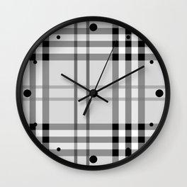 Classic Vintage Gray Check Tartan Wall Clock