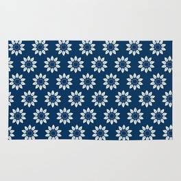 Ten Petal Flower Pattern (Navy Blue) Rug