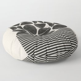 Woodblock Art, Warm Tone Floor Pillow